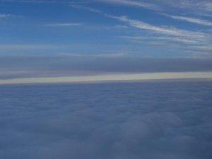 Le ciel ennuagé - Juste au dessus de Montréal après avoir traversé la couche de nuages